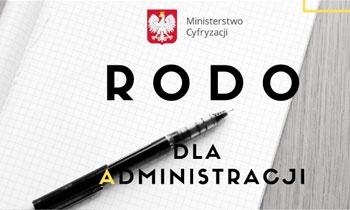 okładka podręcznika. napis na białym tle: rodo dla administracji. w tle długopis oraz godło Polski